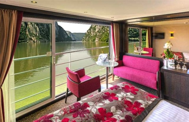 One of the sumptuous Panorama Suites aboard the recently-launched Avalon Poetry II. Photo courtesy of Avalon Waterways