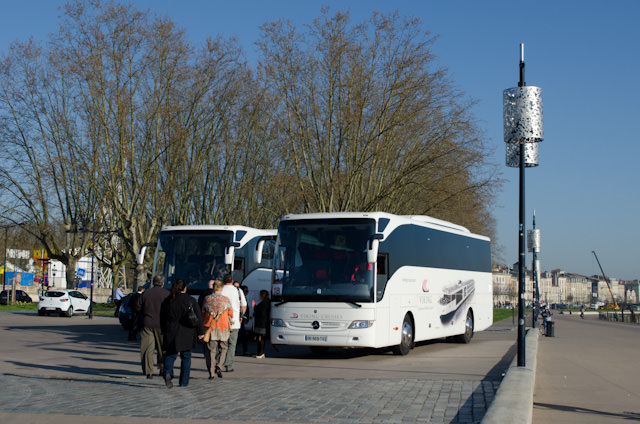 Boarding the Viking-branded coaches in Bordeaux this morning for a full day in Cognac. Photo © 2014 Aaron Saunders