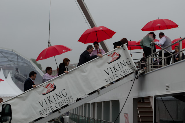 Embarking Viking Hemming in the rain in Porto, Portugal on Friday, March 21, 2014. Photo © 2014 Aaron Saunders