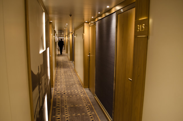 Welcome aboard! Stateroom corridors and furnishings are decidedly Scandinavian and Longship-esque, but with several pleasant differences. Photo © 2014 Aaron Saunders