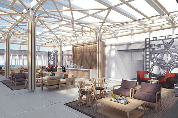 The Wintergarden aboard Viking Star will feature a retractable roof and will be conveniently situated near the midships pool. Illustration courtesy of Viking Cruises