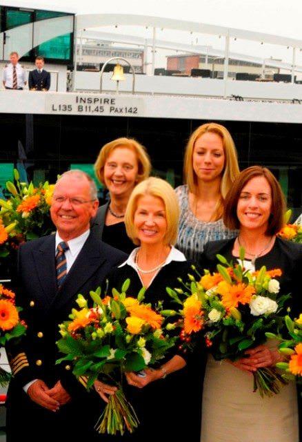 Godmothers of the new ms Inspire, alongside Captain Hendrik Liemberg: Bridget Ashton, Lynn Hardcastle, Eszter Pusztai and Mary Pierik. Photo courtesy of Tauck.