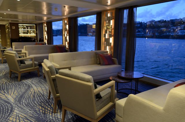 Viking Hemming is one of two new vessels along Portugal's Douro River. Shown here is the attractive Main Lounge aboard Viking Hemming. Photo © 2014 Aaron Saunders