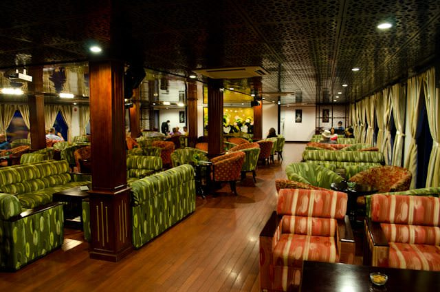 The attractive Saigon Lounge aboard AmaLotus. Photo © Aaron Saunders