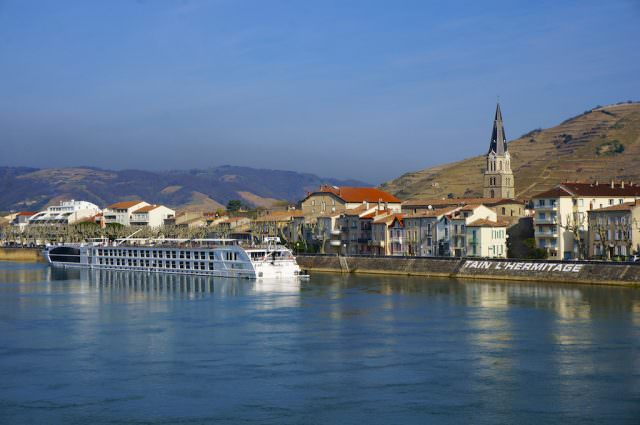 Uniworld's new Super Ship S.S. Catherine docked in Tain L'Hermitage, on the Rhône river in France. © 2014 Ralph Grizzle