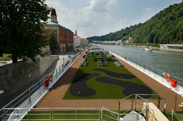 A unique view of the Emerald Star's Sun Deck, as seen from the Luitpold Bridge in Passau. Photo © 2014 Aaron Saunders