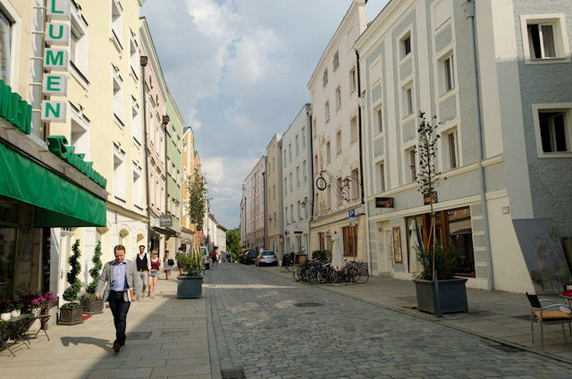 The streets of Passau are very pedestrian-friendly, and the entire city can easily be explored on foot. Photo © 2014 Aaron Saunders