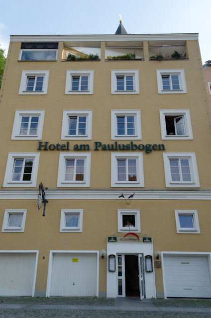 Passau's Hotel am Paulusbogen as it appeared today...Photo © 2014 Aaron Saunders