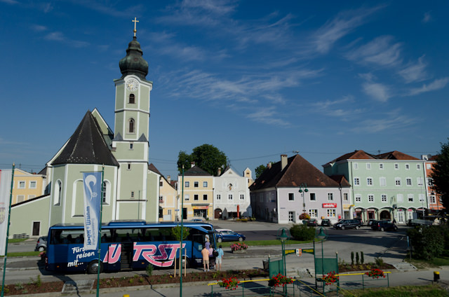 Guests from Emerald Star boarding their coach to Cesky Krumlov. Photo © 2014 Aaron Saunders