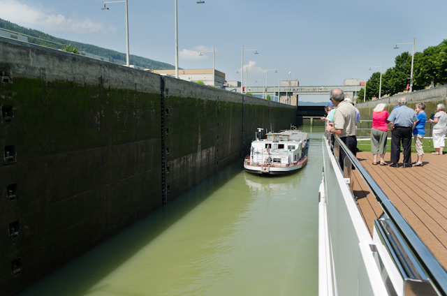 Entering one of the many locks on our way to Passau...Photo © 2014 Aaron Saunders