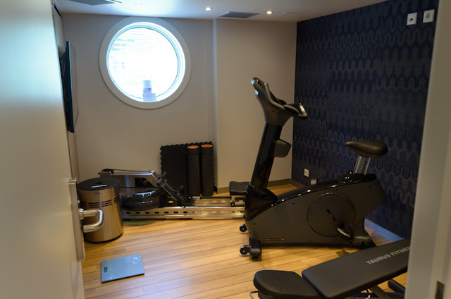 Taking the time to explore the Emerald Star: the small but functional Fitness Center on Deck 2 aft. Photo © 2014 Aaron Saunders