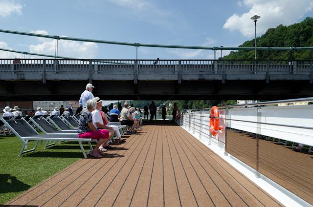 Passing under the Luitpold Bridge prior to docking in Passau. Photo © 2014 Aaron Saunders