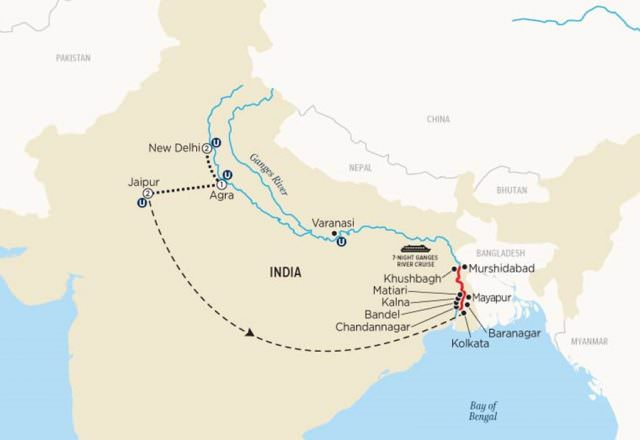 Uniworld's first river cruise itinerary through India is as extensive as it is exotic. Illustration courtesy of Uniworld Boutique River Cruise Collection.