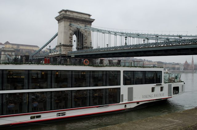 Viking River Cruises' Viking Baldur in Budapest, Hungary. River cruise lines won't run out of docking space for some time to come. Photo © 2014 Aaron Saunders