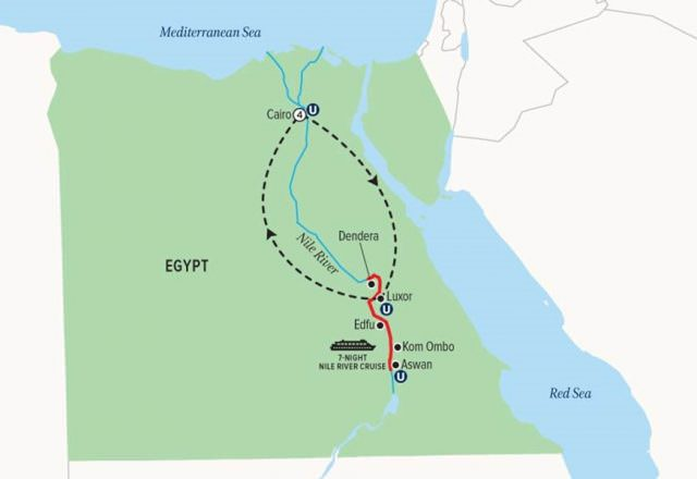 Uniworld's 12-day Splendors of Egypt & the Nile itinerary is back as of October 2015. Illustration courtesy of Uniworld Boutique River Cruise Collection