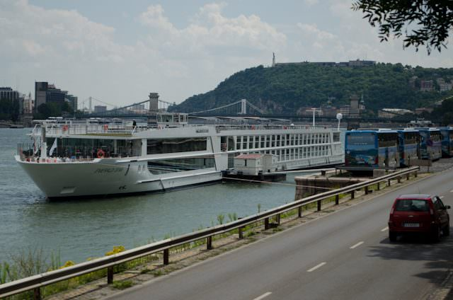 Cities like Budapest, Hungary have an enormous number of docking locations. Here, Emerald Waterways' Emerald Star is docked on the Buda side of the city. Photo © 2014 Aaron Saunders