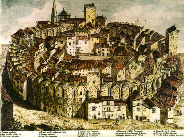 Arles amphitheater in the 18th century before the houses were cleared. photo courtesy of Wikipedia