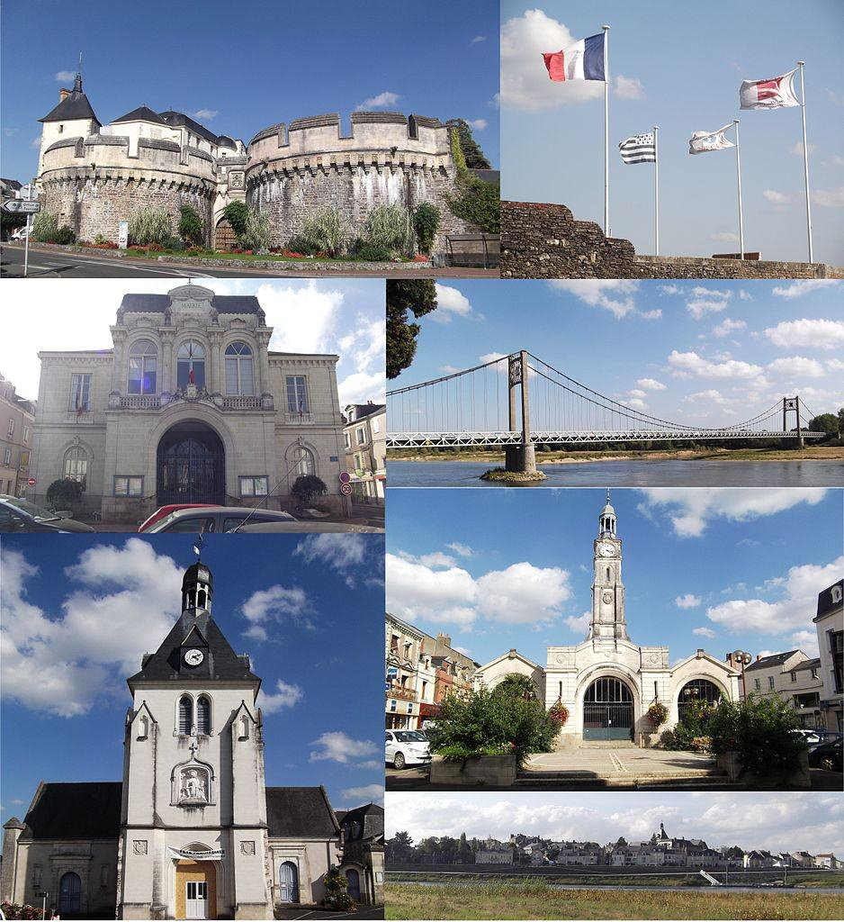 From top to bottom, left to right: The Château d'Ancenis, the flags above the town hall, the town hall, the Ancenis Bridge, St. Peter's Church, the Halles in Ancenis, and a panoramic view of Ancients. ©