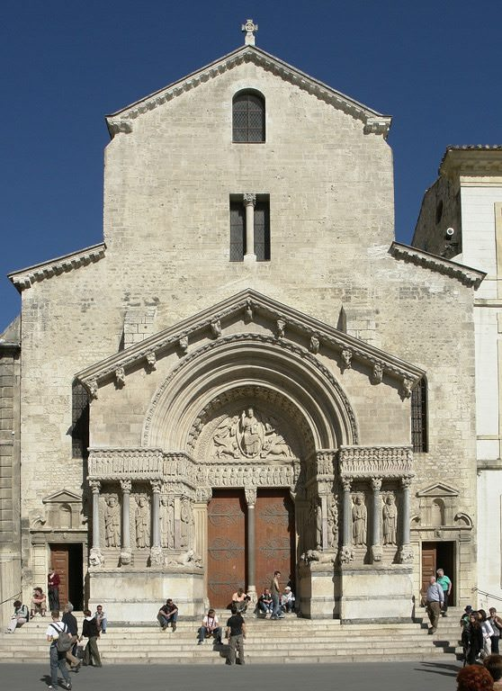 Church of St. Trophime (Trophimus) is a Roman Catholic church and former cathedral built between the 12th century and the 15th century in the city of Arles. photo courtesy of Wikipedia, photographer Hans Peter Schaefer, http://www.reserv-a-rt.de