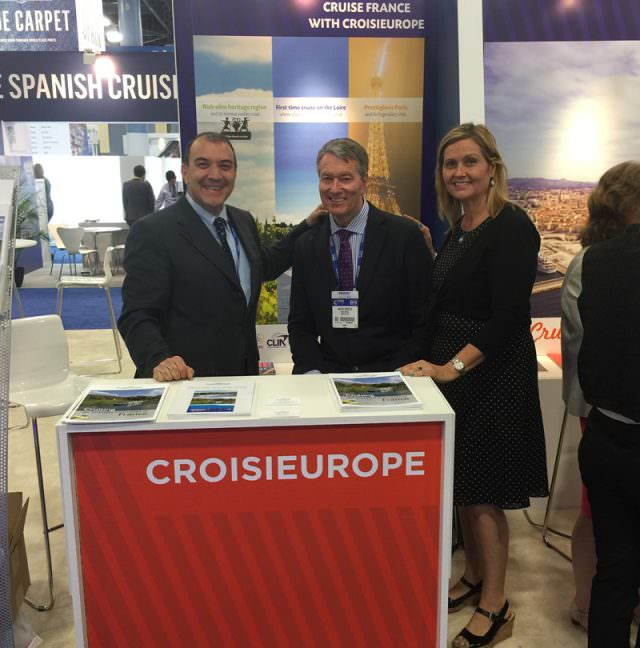 Nicola Iannone, CroisiEurope's executive vice president USA and Canada, with Ralph Grizzle, and Director of Sales Cindy Christen.