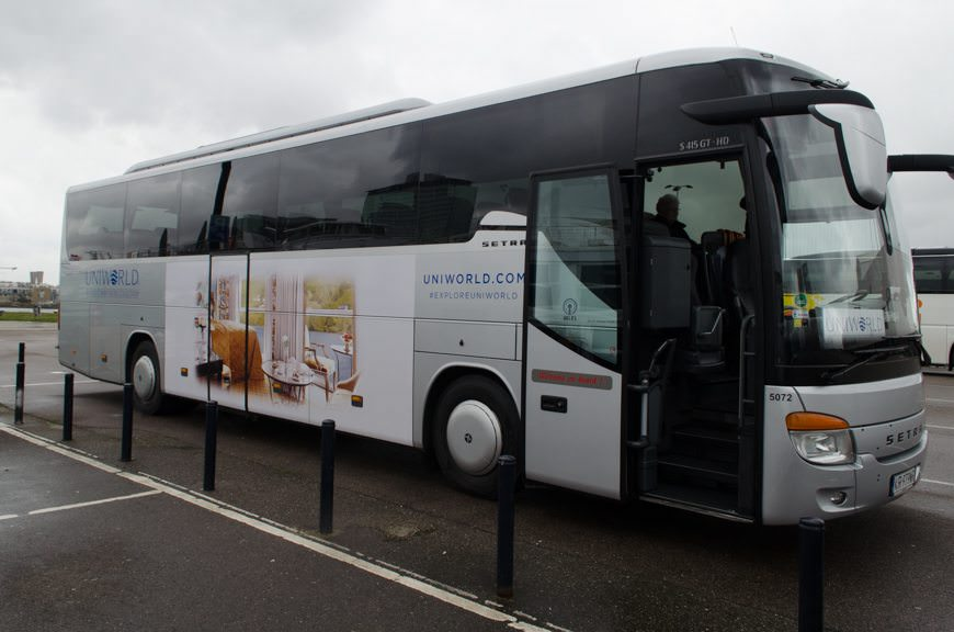 Boarding our Uniworld-branded coach for a private visit to the Anne Frank House in Amsterdam today. Photo © 2015 Aaron Saunders