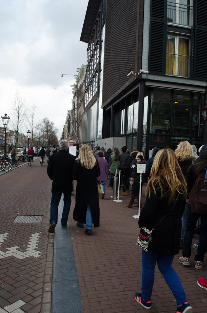 Outside the Anne Frank House in Amsterdam. Our Uniworld tour was able to completely bypass the line on the left. Photo © 2015 Aaron Saunders