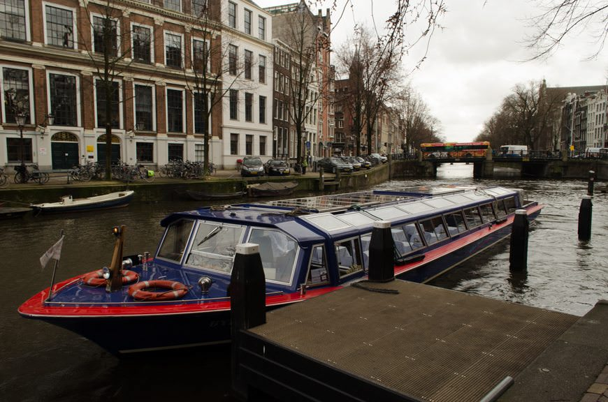 After our moving visit to the Anne Frank House, we took a canal boat back to the S.S. Maria Theresa. Photo © 2015 Aaron Saunders