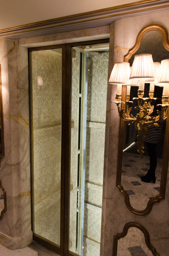 ...and its elegantly-decorated service shaft. Photo © 2015 Aaron Saunders