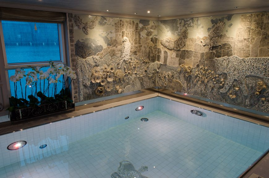 Uniworld's S.S. Maria Theresa also boasts an indoor swimming pool all the way aft on Hofburg Deck that is surprisingly well-done. Photo © 2015 Aaron Saunders