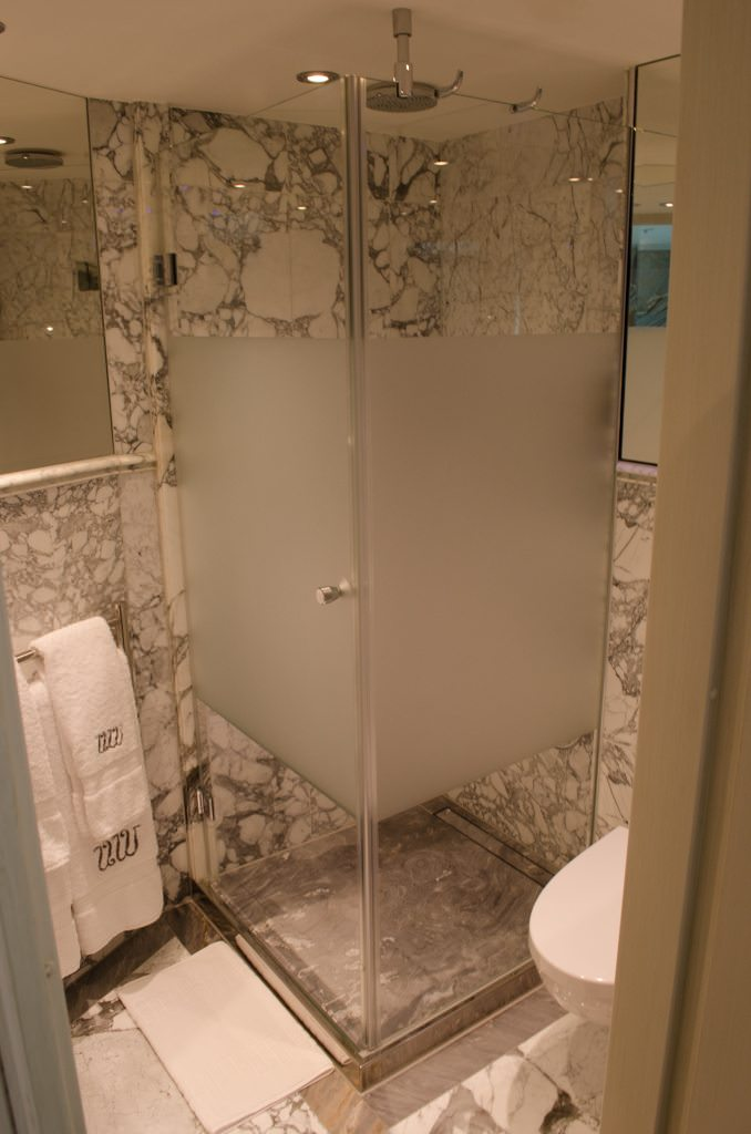 The bathroom is unusually large, and fitted with some custom amenities...Photo © 2015 Aaron Saunders