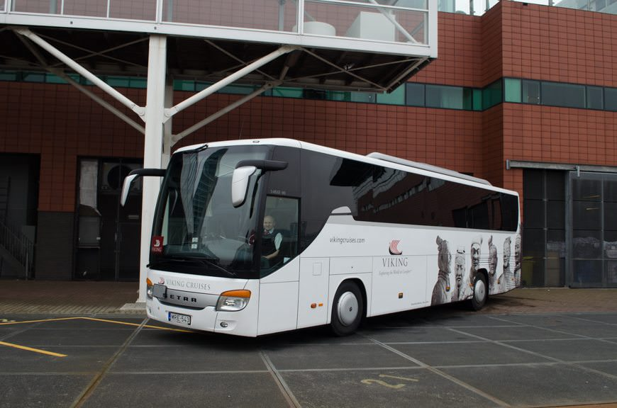 In typical Viking fashion, we boarded a new, logo-branded coach for our day of touring in Amsterdam. Photo © 2015 Aaron Saunders