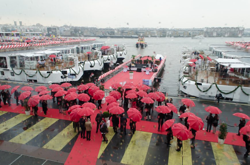Guests gather at the Passenger Terminal Amsterdam to witness the christening of 12 new Viking River Cruises ships. No Guinness World Record this year, but an amazing continued achievement nonetheless. Photo © 2015 Aaron Saunders