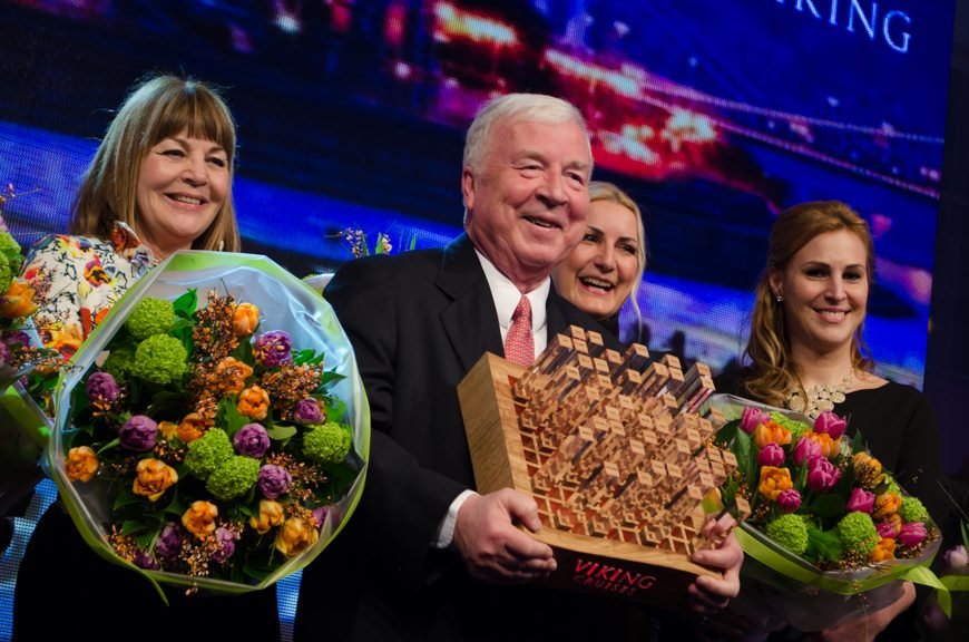 Viking River Cruises founder Torstein Hagen, center, flanked by some of the Godmothers for the 12 new river cruise ships christened on Tuesday, March 24, 2015. Photo © 2015 Aaron Saunders