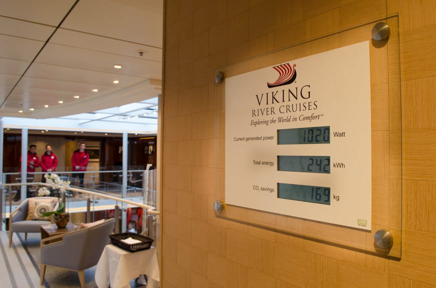 The Viking Longships are also energy-efficient. The energy useage plaque has been moved from a hidden spot on the Deck 3 corridor to a new, more prominent home on the starboard entrance to the Viking Lounge. Photo © 2015 Aaron Saunders
