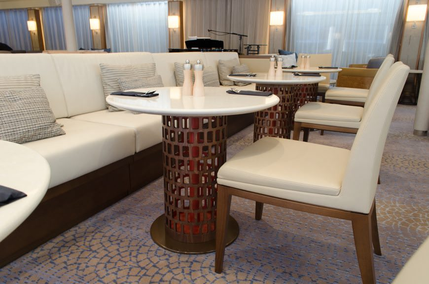 Slight variation in the design of the tables and couches in the Viking Lounge.