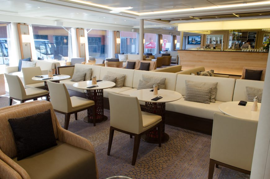 Changes are everywhere aboard the newest generation of Viking Longships - if you know where to look. Shown here is the Viking Lounge aboard Viking Skirnir. Photo © 2015 Aaron Saunders
