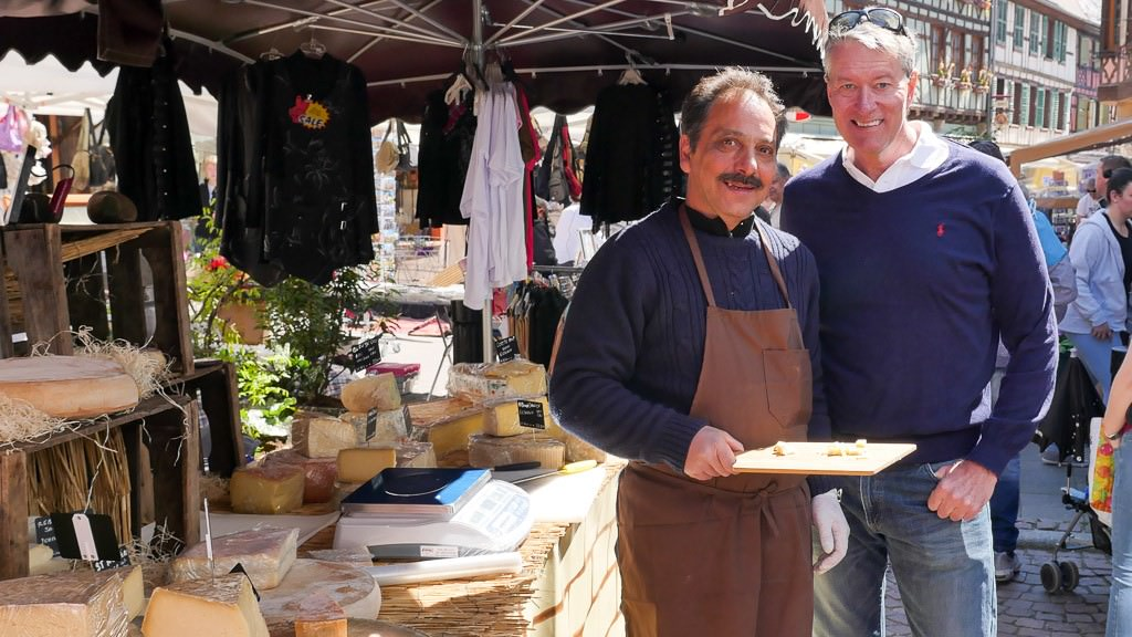 "Me and the ""cheese man"" at the market in Obernai. © 2015 Ralph Grizzle"