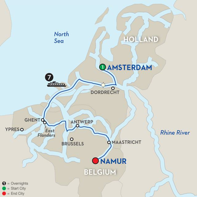 """Avalon's """"Enchanting Belgium"""" itinerary will travel from Brussels to Amsterdam, with a focus on Belgian ports of call. Illustration courtesy of Avalon Waterways."""