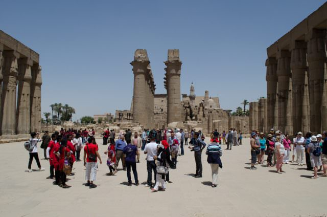 Tourists at Luxor Temple on April 12, 2015. Photo © 2015 Aaron Saunders