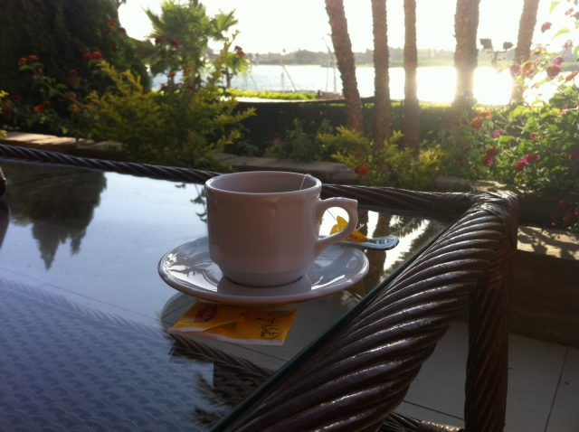 Enjoying Tea along the Nile, at the Sheraton Luxor. Photo © 2015 Aaron Saunders