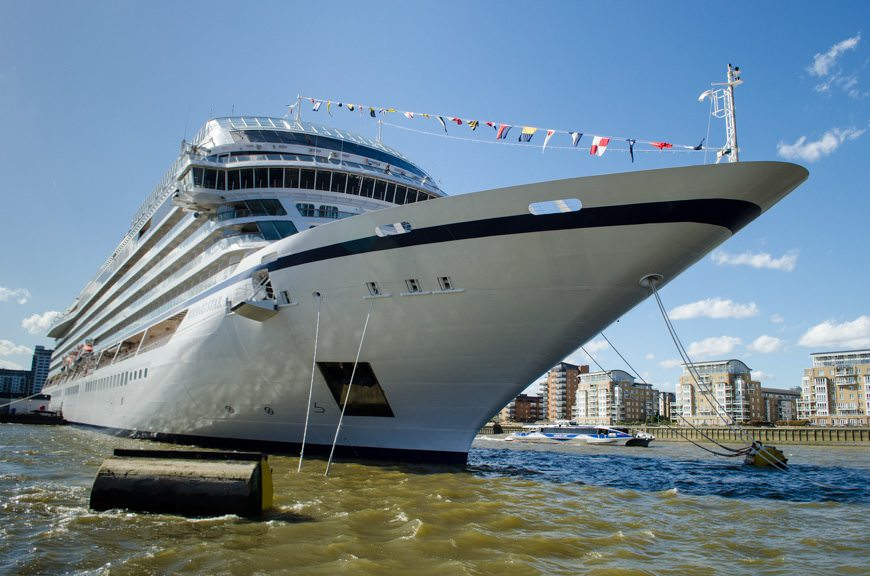 Viking Cruises first-ever oceangoing ship, Viking Star, photographed here in Greenwich, England on May 12, 2015. Photo © 2015 Aaron Saunders