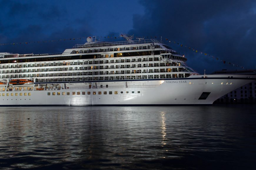 Viking Star, lit up during the ceremonies. Photo © 2015 Aaron Saunders