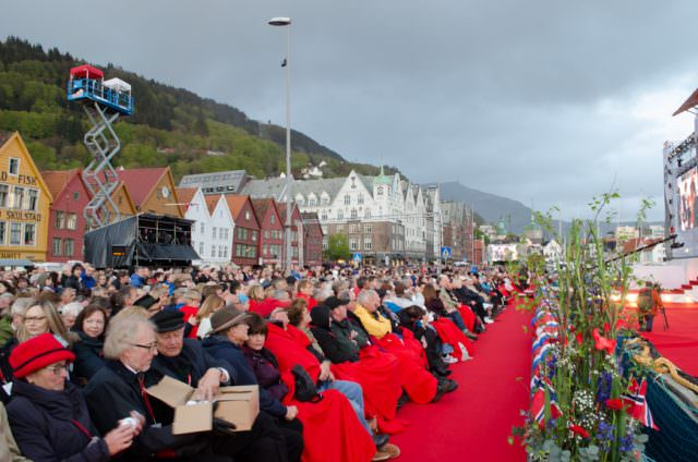 Over 20,000 people attended the evening concert and ceremonies in Bergen's historic Bryggen district. Photo © 2015 Aaron Saunders