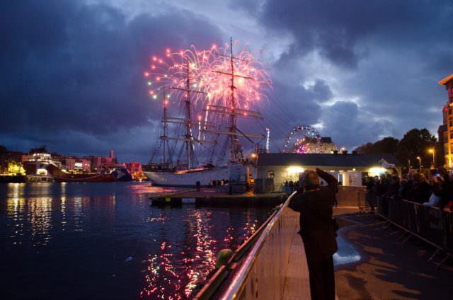 Celebratory fireworks were launched from Viking Star and across the harbour. Photo © 2015 Aaron Saunders