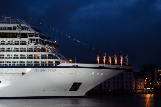 The Moment of Truth: Viking Star is officially christened! Photo © 2015 Aaron Saunders