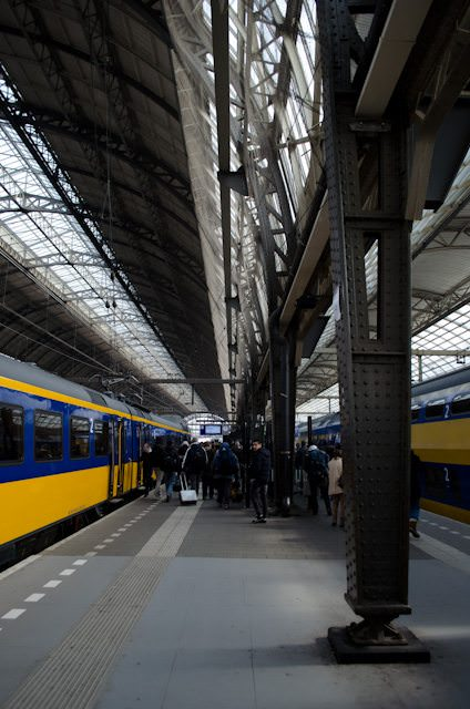 Deutsche Bahn train services throughout Germany have been disrupted this week, though ICE trains continue to operate. Shown here are NH trains at Amsterdam Centraal. Photo © 2013 Aaron Saunders