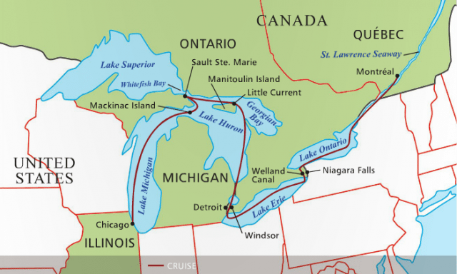 Haimark's Historic Saint Lawrence River & The Five Great Lakes itinerary is one of the most comprehensive explorations of the region. Illustration courtesy of Haimark.