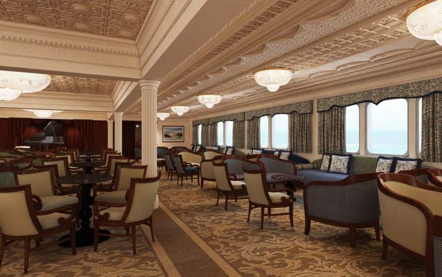 A rendering of the refurbished Lounge aboard the MS Saint Laurent. Rendering courtesy of Haimark.