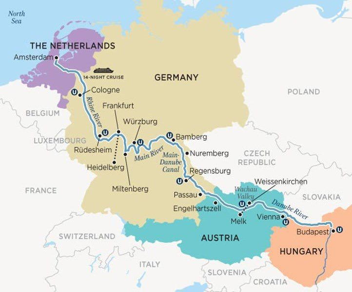 My journey aboard Uniworld's S.S. Maria Theresa winds its way through some of the most popular ports on the Rhine, Main and Danube Rivers. Illustration courtesy of Uniworld Boutique River Cruise Collection