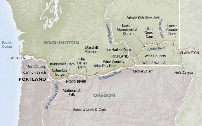 Un-Cruise Adventures offers two distinct itineraries along the Columbia & Snake Rivers - both of which operate conveniently roundtrip from Portland, Oregon. Illustration courtesy of Un-Cruise Adventures